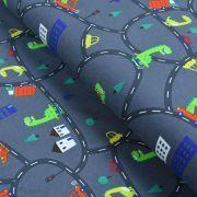 Tissu jersey coton motif dinosaure - Gris foncé et multicolore - Oeko-Tex ® Autres marques - 1
