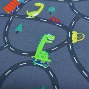 Tissu jersey coton motif dinosaure - Gris foncé et multicolore - Oeko-Tex ® Autres marques - 4