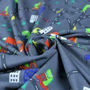 Tissu jersey coton motif dinosaure - Gris foncé et multicolore - Oeko-Tex ® Autres marques - 2