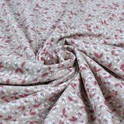 "Tissu jersey coton motif petites fleurs esprit ""Liberty"" - Rose clair et cognac - Oeko-Tex ® Autres marques - Tissus et mercerie"