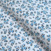 Tissu jersey interlock coton motif petites fleurs - Blanc et bleu Autres marques - 1
