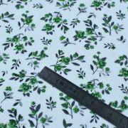 Tissu jersey interlock coton motif petites fleurs - Blanc et vert Autres marques - 5