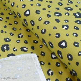 Tissu french terry coton motif léopard - Ocre - Oeko-Tex et GOTS ® Autres marques - 1