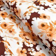 """Tissu jersey coton motif fleurs """"Watercolour Mohogany"""" - Tons oranges et cuivrés - Oeko-Tex ® Family Fabrics ® - 1"""