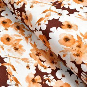 "Tissu jersey coton motif fleurs ""Watercolour Mohogany"" - Tons oranges et cuivrés - Oeko-Tex ® Family Fabrics ® - Tissus oekotex"
