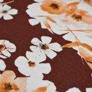 """Tissu jersey coton motif fleurs """"Watercolour Mohogany"""" - Tons oranges et cuivrés - Oeko-Tex ® Family Fabrics ® - 3"""