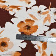 """Tissu jersey coton motif fleurs """"Watercolour Mohogany"""" - Tons oranges et cuivrés - Oeko-Tex ® Family Fabrics ® - 5"""