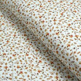 "Tissu jersey coton motif fleurs ""Vintage Orange Flowers"" - Blanc et Orange - Oeko-Tex ® Family Fabrics ® - Tissus oekotex - 1"