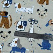 Tissu jersey coton motif chiens - Blanc et bleu - Oeko-Tex ® et GOTS ® Autres marques - 10