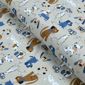 Tissu jersey coton motif chiens - Blanc et bleu - Oeko-Tex ® et GOTS ® Autres marques - 1