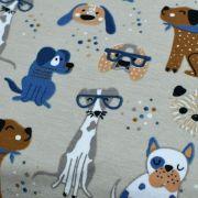 Tissu jersey coton motif chiens - Blanc et bleu - Oeko-Tex ® et GOTS ® Autres marques - 4
