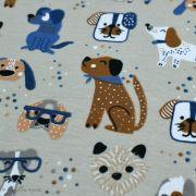 Tissu jersey coton motif chiens - Blanc et bleu - Oeko-Tex ® et GOTS ® Autres marques - 5
