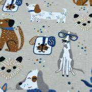 Tissu jersey coton motif chiens - Blanc et bleu - Oeko-Tex ® et GOTS ® Autres marques - 7