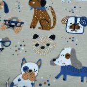 Tissu jersey coton motif chiens - Blanc et bleu - Oeko-Tex ® et GOTS ® Autres marques - 8
