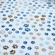 Tissu jersey coton motif pattes de chiens - Blanc, beige et bleu - Oeko-Tex ® et GOTS ® Autres marques - 2