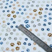 Tissu jersey coton motif pattes de chiens - Blanc, beige et bleu - Oeko-Tex ® et GOTS ® Autres marques - 5