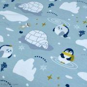 Tissu jersey coton motif pingouin - Vert menthe et bleu - Oeko-Tex ® et GOTS ® Autres marques - Tissus et mercerie - 3