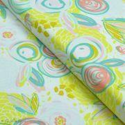 """Tissu jersey motif fleur """"Reverie Fusion"""" - Tons jaunes et pastels - AGF ®"""
