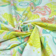 "Tissu jersey motif fleur ""Reverie Fusion"" - Tons jaunes et pastels - AGF ® Art Gallery Fabrics ® - Tissus - 2"