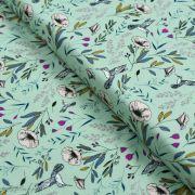 """Tissu jersey motif fleurs """"Magic Fauna Waterfall"""" - Vert menthe - AGF ®"""