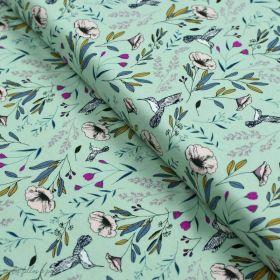 """Tissu jersey motif fleurs """"Magic Fauna Waterfall"""" - Vert menthe - AGF ® Art Gallery Fabrics ® - Tissus - 1"""