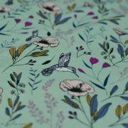 """Tissu jersey motif fleurs """"Magic Fauna Waterfall"""" - Vert menthe - AGF ® Art Gallery Fabrics ® - 1"""