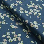 """Tissu jersey motif fleurs """"Mayfair"""" de Amy Sinibaldi - Bleu gris- Oekotex - AGF ®"""