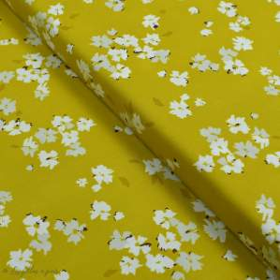 "Tissu coton motif fleurs ""Mayfair"" de Amy Sinibaldi - Ocre - Oekotex - AGF ® Art Gallery Fabrics ® - Tissus - 1"
