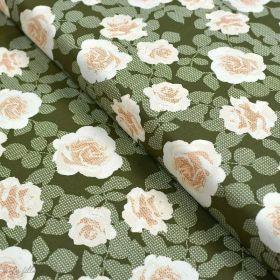 "Tissu coton motif roses ""Her et History"" - Vert kaki - Oekotex ® - AGF ® Art Gallery Fabrics ® - Tissus - 1"