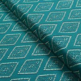 "Tissu coton motif losanges ""Spirited"" - Ecru et turquoise - Oekotex ® - AGF ® Art Gallery Fabrics ® - Tissus - 1"
