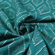 "Tissu coton motif losanges ""Spirited"" - Ecru et turquoise - Oekotex ® - AGF ® Art Gallery Fabrics ® - Tissus - 2"