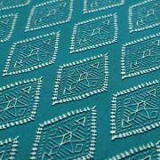 "Tissu coton motif losanges ""Spirited"" - Ecru et turquoise - Oekotex ® - AGF ® Art Gallery Fabrics ® - Tissus - 3"