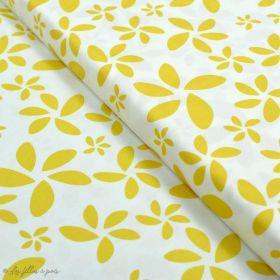 "Tissu coton motif fleurs ""Minimalista"" - Ocre et écru - AGF ® Art Gallery Fabrics ® - Tissus - 1"