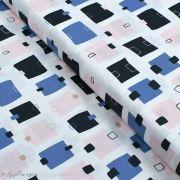 """Tissu coton motif post-it """"Lagom"""" - Blanc, rose, noir et bleu - AGF ®"""