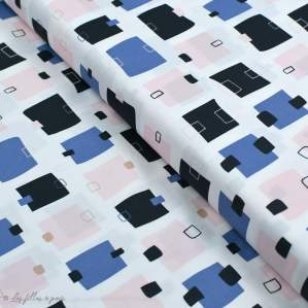 "Tissu coton motif post-it ""Lagom"" - Blanc, rose, noir et bleu - AGF ® Art Gallery Fabrics ® - Tissus - 1"