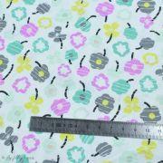 "Tissu coton motif fleur ""Heartland"" - Blanc, violet, gris, jaune et vert - AGF ® Art Gallery Fabrics ® - 1"