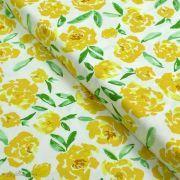 "Tissu coton motif fleur ""The Open Road"" - Ecru et ocre- AGF ® Art Gallery Fabrics ® - 1"