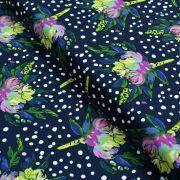 "Tissu coton motif pois et fleurs ""Bloomsbury"" de Bari J - Bleu marine Oekotex - AGF ® Art Gallery Fabrics ® - Tissus - 1"