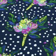 "Tissu coton motif pois et fleurs ""Bloomsbury"" de Bari J - Bleu marine Oekotex - AGF ® Art Gallery Fabrics ® - Tissus - 5"