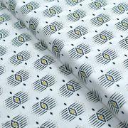 """Tissu coton motif géométrique """"Capsules Pacha"""" - Noir, blanc et ocre - Oekotex ® - AGF ®"""