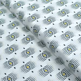 """Tissu coton motif géométrique """"Capsules Pacha"""" - Noir, blanc et ocre - Oekotex ® - AGF ® Art Gallery Fabrics ® - Tissus - 1"""