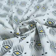 """Tissu coton motif géométrique """"Capsules Pacha"""" - Noir, blanc et ocre - Oekotex ® - AGF ® Art Gallery Fabrics ® - Tissus - 2"""
