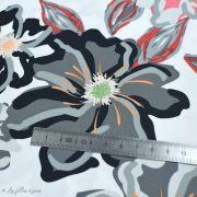 """Tissu coton motif fleurs """"Fusion Silkroad"""" - Blanc, rouge et noir - AGF ® Art Gallery Fabrics ® - 1"""