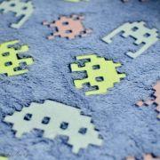 """Tissu minky néon phosphorescent double face motif robot esprit """"Space Invaders"""" - Gris - Oeko-Tex ® Autres marques - 4"""