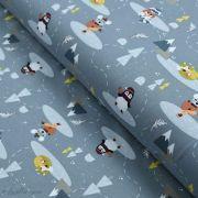 Tissu jersey coton motif pingouin, souris et renard - Gris - Oeko-Tex ® et GOTS ®