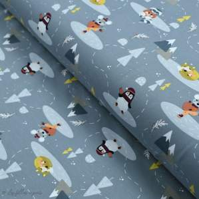 Tissu jersey coton motif pingouin, souris et renard - Gris - Oeko-Tex ® et GOTS ® Autres marques - 1