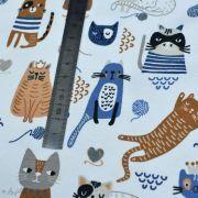 Tissu jersey coton motif chat - Blanc, bleu et camel - Oeko-Tex ® et GOTS ® Autres marques - 8