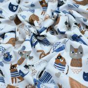 Tissu jersey coton motif chat - Blanc, bleu et camel - Oeko-Tex ® et GOTS ® Autres marques - 7