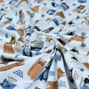 Tissu jersey coton motif chat - Blanc, bleu et camel - Oeko-Tex ® et GOTS ® Autres marques - 2