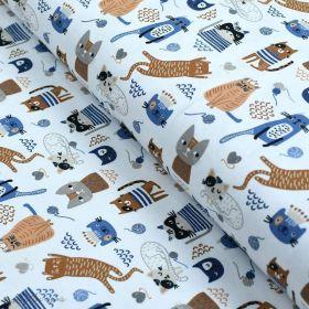 Tissu jersey coton motif chat - Blanc, bleu et camel - Oeko-Tex ® et GOTS ® Autres marques - 1